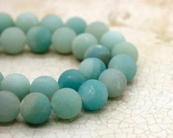 Amazonite Matte Round Gemstone Beads (4mm 6mm 8mm 10mm)