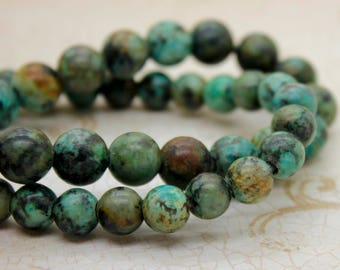 "Africa Turquoise Smooth Round Gemstone 8mm 10mm Beads (8"" strand - 2.5 mm hole)"