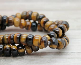 "Tiger's Eye Rondelle Gemstone Beads 8"" strand (5mm x 8mm beads, 2.5 mm hole)"