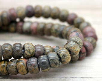 "Bamboo Jasper Rondelle Gemstone Beads 8"" strand (5mm x 8mm beads, 2.5 mm hole)"