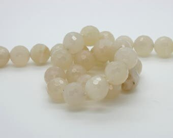 Creamy Moonstone Faceted Round Ball Sphere Natural Gemstone Loose Bead Beads (6mm 8mm 10mm 12mm)