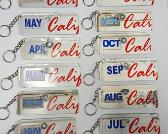 Unique California License Plate Keychain made from Genuine License Plates
