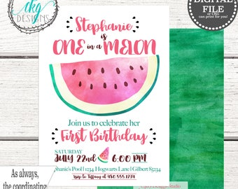 One in a Melon Birthday Invitation | Summer Birthday Invitation | First Birthday Invitation | Watermelon Birthday Invitation |  Melon Party