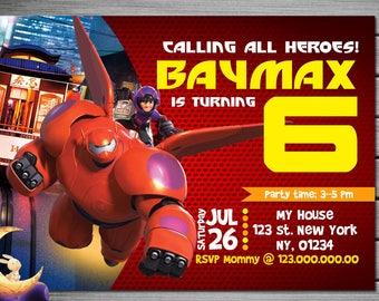 Big Hero 6 Birthday Invitation - Printable Disney Big Hero 6 Birthday Invite - Baymax - DIY Personalize & Print