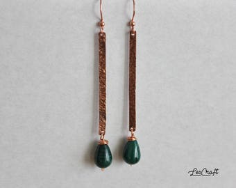 MATCHES copper earrings and malachite