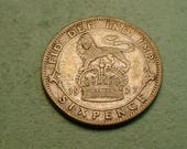 Bride's  Silver Sixpence Coin from Great Britain 1927 / Good Luck for the Bride  / The Coin you see is the Coin You Get<># ET4113