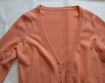 Peach large v-neck cashmere cardigan