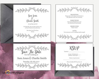 Classic Elegant wedding invitation set, Printable wedding stationery, Invitation Suite