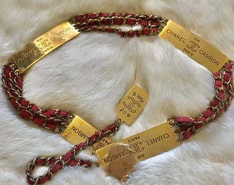 """1995 CHANEL RUE CAMBON 36"""" Gold Tone Red Belt"""