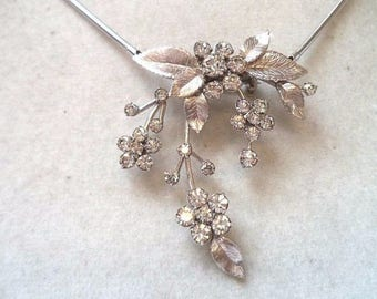 Vintage KREMENTZ Floral Rhinestone Pendant Necklace