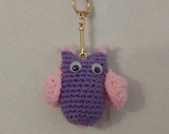 Purple and pink OWL key chain