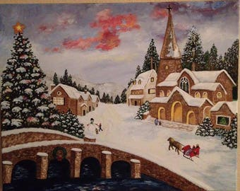 Christmas Town Hand-painted acrylic stretched canvas painting