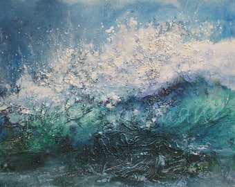 Blank Card - Seascape Card - Artist Card - Quality Card from an Original Painting by Jackie Lowman - Breaking Wave - Greetings Card - Card