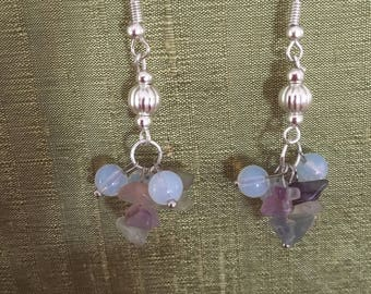 Silver handmade earrings using fluorite crystal chips and opalite beads