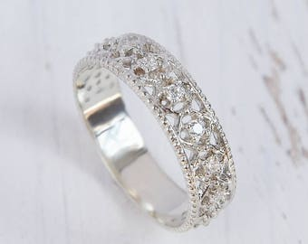 unique wedding band silver wedding band art deco wedding band victorian wedding band - Unique Wedding Rings For Women