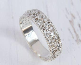 unique wedding band silver wedding band art deco wedding band victorian wedding band - Women Wedding Ring