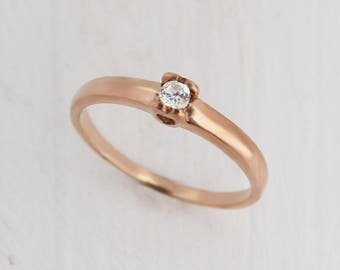 Promise ring, Solitaire ring gold, Engagement ring gold, White cz ring gold, White stone ring, Promise ring for her, Ring for girlfriend