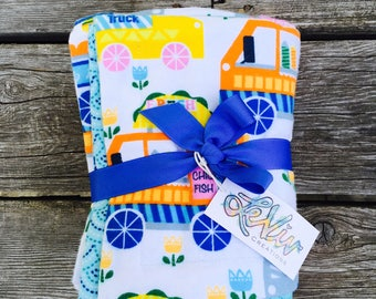Colorful food truck flannel baby or child blanket, small blanket, teal patterned back side,  soft and cuddly blanket, baby or child gift