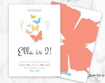 Butterfly Birthday Invitation, Butterfly Invitation, Butterfly Party Invite, Butterfly Invitations, Butterflies Invitation, Girls Invite