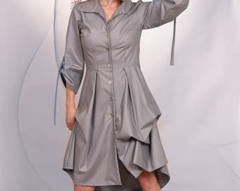 Grey shirt dress/Long sleeves/Collar/Day dress/ Casual dress