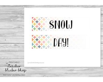 "Teacher Planner Labels - ""Snow Day"" Full Day Sticker with CUT FILE! - for Erin Condren, Happy Planner, Teacher Binder, Lesson Planner, etc."