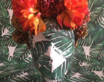 Orange flower and pom pom headpiece