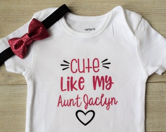 Cute Like my Aunt, Pink and Black, baby girl outfit