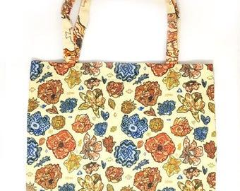Mini Tribal Flower Tote Bag, Small Tribal Tote, Floral Tote Bag, Graphic Tote Bag, Tote Bag With Zipper, Zipper Tote Bag Flowers, Floral Bag
