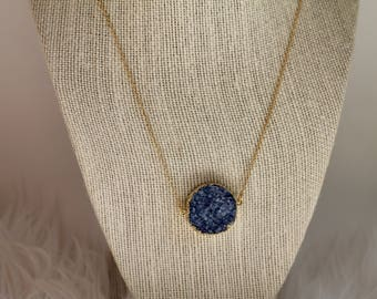 Dark blue druzy pendant necklace