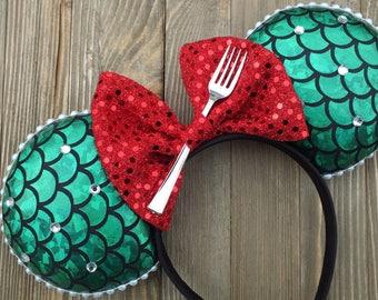 Little Mermaid ears , Minnie Mouse Ears , Ariel Mickey Ears, Ariel Ears , Ariel Minnie Ears , Mouse Ears , Disney Ears, Headband Ears