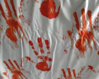 Bloody handprint jersey, handprint knit, Halloween jersey knit, horror jersey