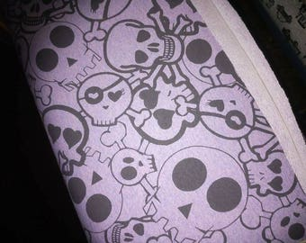 Purple skulls french Terry, purple skull french Terry, purple summer sweat fabric, skull french Terry fabric, purple summer sweat