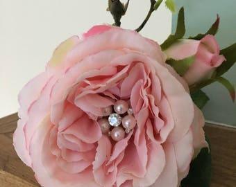 Luxury artificial rose, pink gem rose, artificial wedding flower, wedding bouquet flowers, pink silk wedding rose, diamanté silk rose.