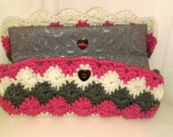 Pink Crochet Wallet Clutch Purse