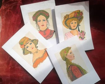 Art woman cards, vintage cards, victorian art, greeting art cards, woman cards, bridal card, art cards, art greeting cards, miss you cards,