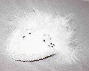 Feathered & Pearl Fascinator