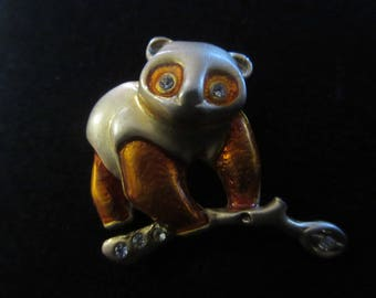 Vintage Adorable Panda Bear on Bamboo Brooch in Gold Tone