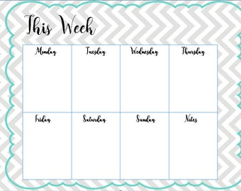 Teal and Gray Weekly Homework/Activity/Schedule Planner