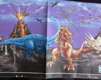 Paper dinosaur and volcano erupting towel