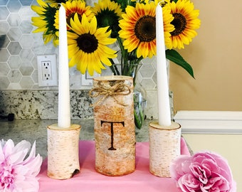 Wedding Unity Candles Birch wood and custom engraved!