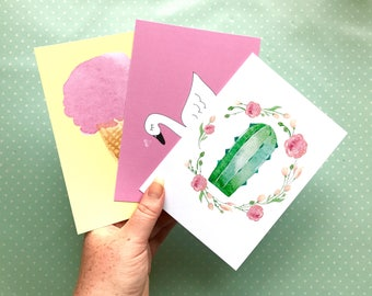 Set of 3 postcards - weheartconfetti