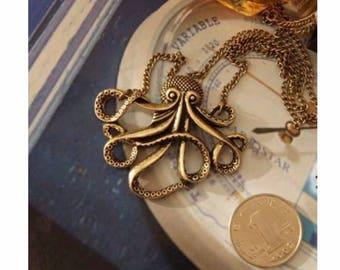 Bronze Octopus Pendant - Kraken Pendant