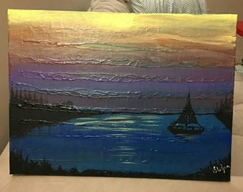 Sunset textured painting