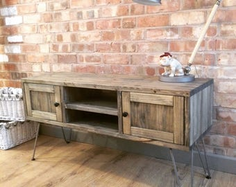 Industrial Weathered Wood Style TV Cabinet - Hairpin Legs Rustic Handmade Vintage Retro