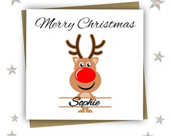 Personalised Christmas Card, Christmas Card For Child, Reindeer Christmas Card