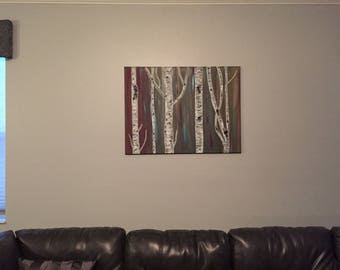 Birch tree canvas painting, Art, Acrylics