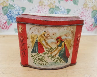 Vintage Ceylon tea tin/caddy