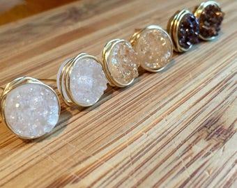 14 Karat Gold Filled Wire Wrapped Druzy Stud Earrings