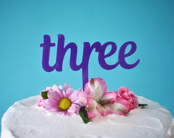 Purple Acrylic Three Cake Topper Laser Cut For 3rd Birthday