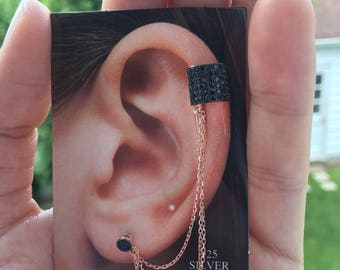 925 Sterling Silver Ear Cuff with Chain.